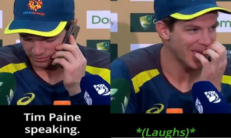 WATCH: प्रेस कॉन्फ्रेंस में टिम पेन ने पत्रकार के फोन को उठाकर किया ऐसा मजाक, सभी की निकली हंसी Imag