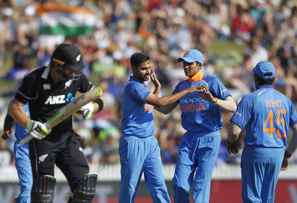 Indian Bowler Bhuvneshwar Kumar Celebrates Wicket Images