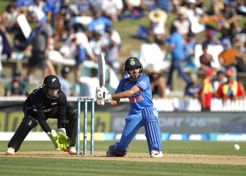 Indias Yuzvendra Chahal Plays A Shot During The 4th Odi Cricket Match Between India And New Zealand
