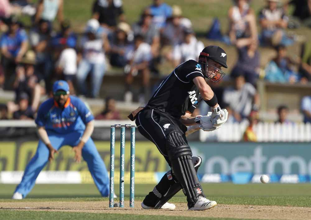 New Zealands Henry Nicholls In Action During The 4th Odi Images
