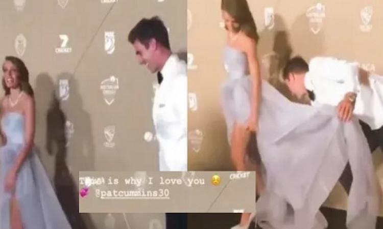 AUS CRICKET AWARDS: पैट कमिंस ने रेड कार्पेट पर ऐसा कर जीत लिया अपनी खूबसूरत गर्लफ्रेंड का दिल Image