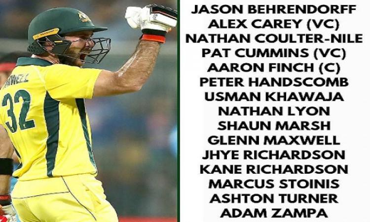 पाकिस्तान के साथ वनडे सीरीज के लिए आस्ट्रेलियाई टीम का ऐलान Images