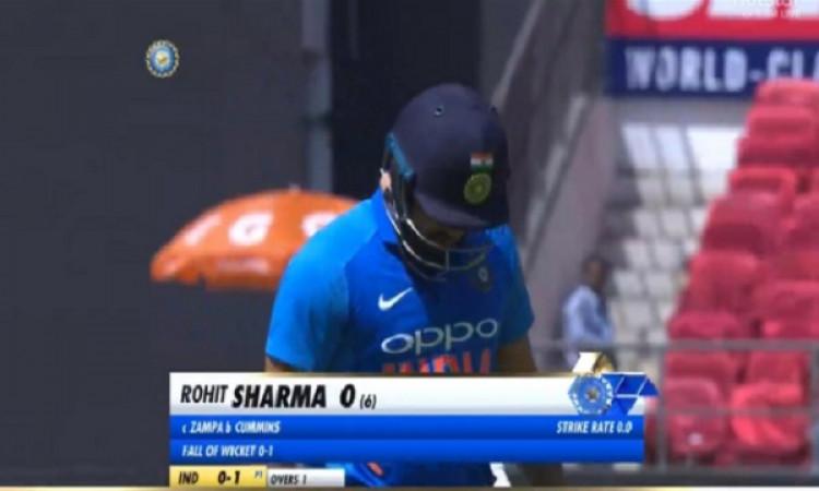 दूसरे वनडे में भारत के हिट मैन रोहित शर्मा 0 पर आउट, ऑस्ट्रेलिया के खिलाफ दूसरी दफा हुआ ऐसा Images