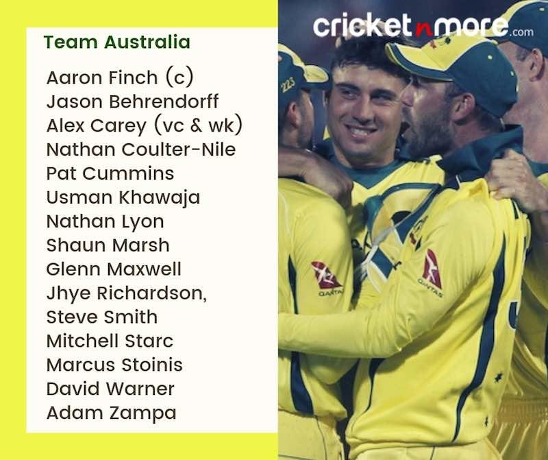 Australia Squad For CWC19 Images