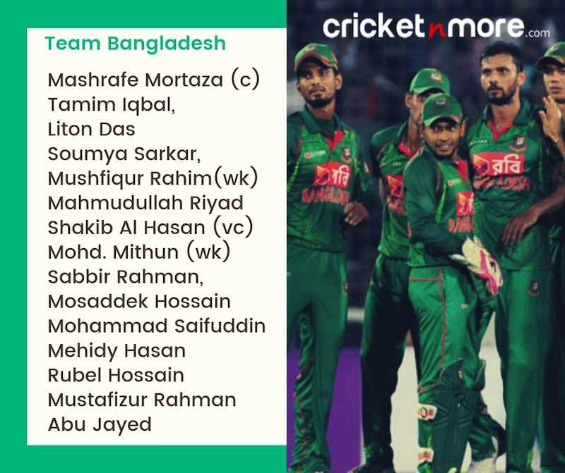 Bangladesh Squad For CWC19 Images in Hindi