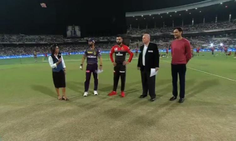 IPL 2019: केकेआर ने आरसीबी के खिलाफ टॉस जीतकर पहले फील्डिंग का फैसला, आरसीबी टीम से दिग्गज बाहर Imag