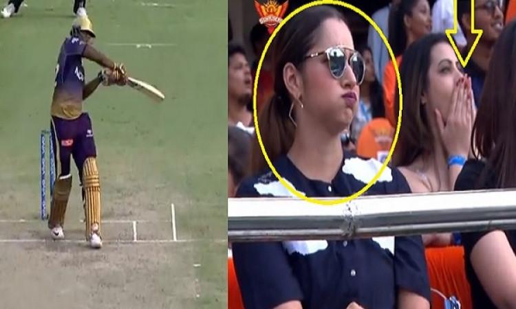 VIDEO आंद्रे रसेल ने लगाया ऐसा छक्का, मैच देख रहीं खूबसूरत सानिया मिर्जा रह गई हैरान, दिया यह रिएक्श