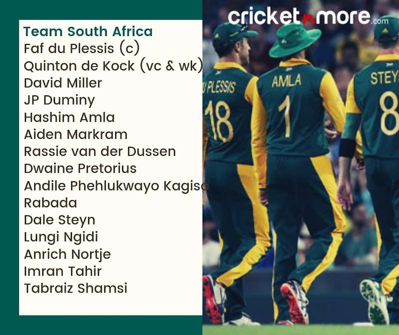 South Africa Squad For CWC19 Images in Hindi