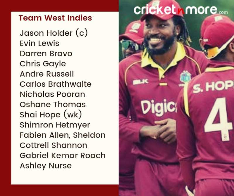 West Indies Squad For CWC19 Images