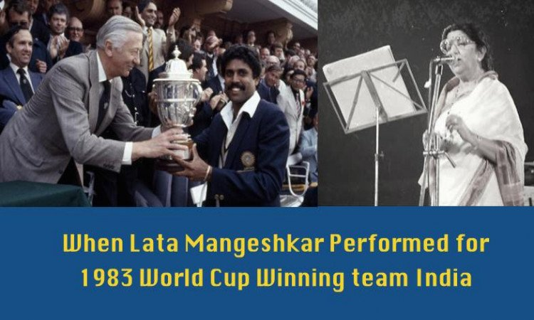 Lata Mangeshkar singing with 1983 cricket team