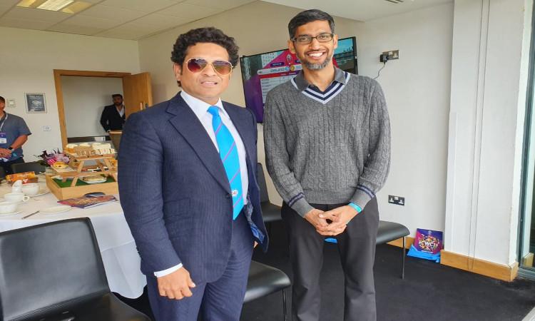 Sachin Tendulkar with Sundar Pichai