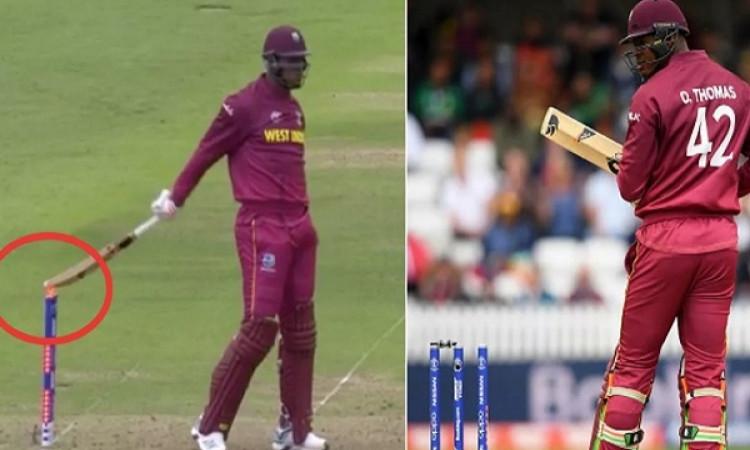 VIDEO: ओशाने थॉमस के साथ घटी रोमांचक घटना, शॉट मारने के बाद बल्ले को मार बैठे स्टंप पर फिर भी आउट नह