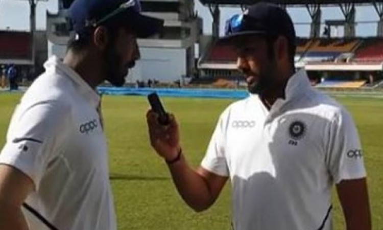 Rohit interviews Antigua heroes Bumrah & Rahane Images