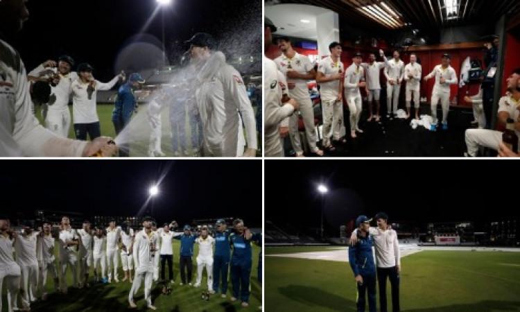 एशेज सीरीज का चौथा टेस्ट मैच जीतने के बाद ऑस्ट्रेलियाई खिलाड़ियों ने इस तरह से मनाया जश्न, देखिए ! I