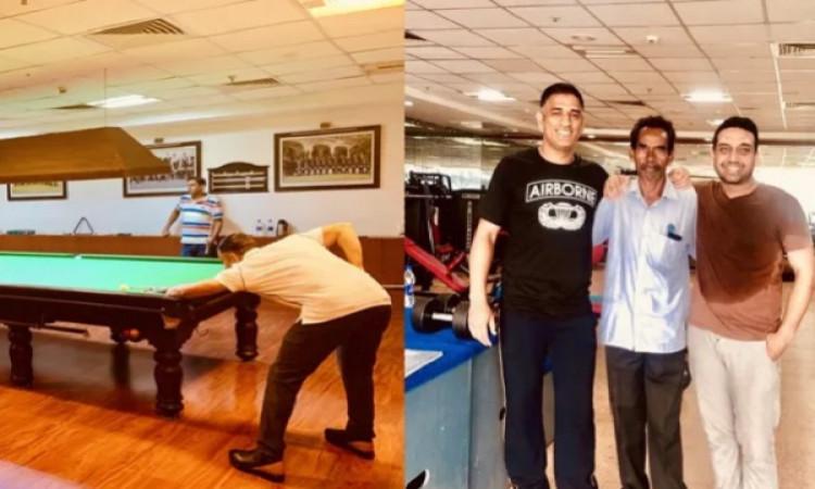 Dhoni enjoys game of billiards at JSCA stadium Images