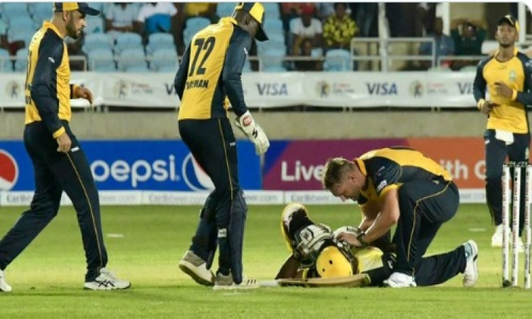 Russell suffers brutal blow on helmet in CPL Images