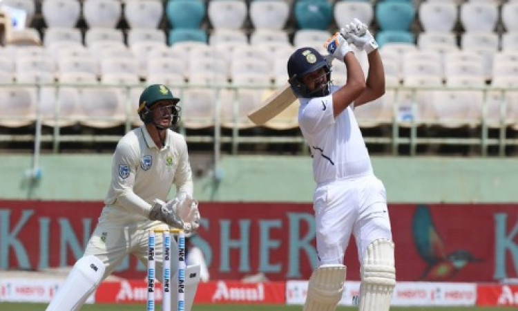 Vizag Test: Rohit steals show with maiden century as opener (Tea) Images