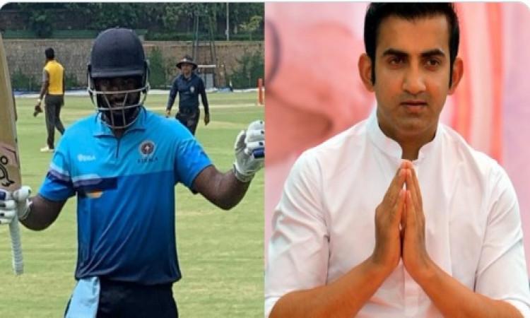 लिस्ट-ए मैच में दोहरा शतक जमाने वाले संजू सैमसन को लेकर गंभीर ने किया ट्विट, जल्द मिले भारतीय टीम मे