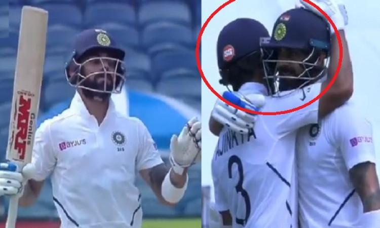VIDEO विराट कोहली ने जमाया शातक, कुछ इस अंदाज में मनाया शतक ठोकने का जश्न, रहाणे ने अपने कप्तान को ग