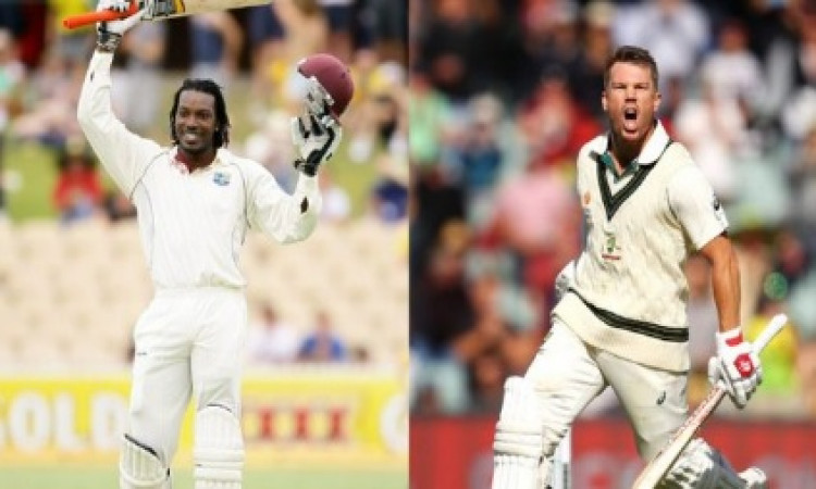 Chris Gayle welcomes David Warner to the 'Triple club' Images