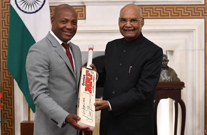 Brian Lara with President Ram Nath Kovind