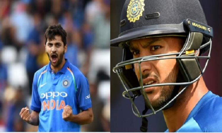 वेस्टइंडीज के खिलाफ वनडे सीरीज से पहले भारतीय टीम में बदलाव, मयंक अग्रवाल- शार्दुल ठाकुर को मिली जगह