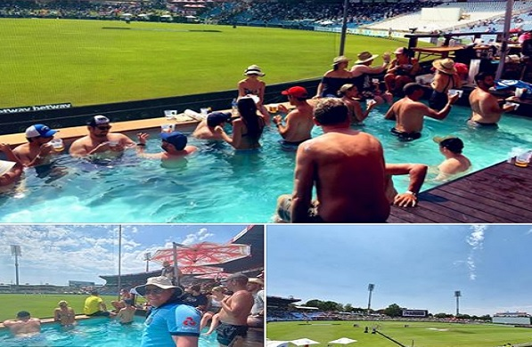 सेंचुरियन  टेस्ट मैच का स्विमिंग पूल में गोते लगाकर मैच का मजा लेते दिखाई दिए क्रिकेट फैन्स ! Images