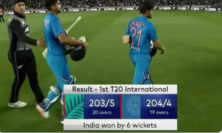 पहले टी-20 में भारत ने न्यूजीलैंड को 6 विकेट से दी पटखनी और साथ ही T20I में पहली दफा बना ऐसा रिकॉर्ड