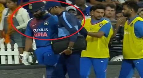 बुरी खबर: बल्लेबाजी करते वक्त रोहित शर्मा चोटिल, रिटायरहर्ट होकर वापस पहुंचे पवेलियन ! Images