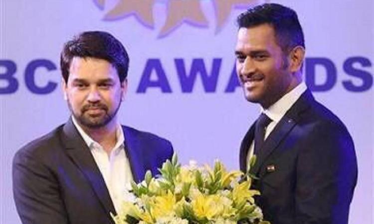 MS Dhoni and Anurag Thakur