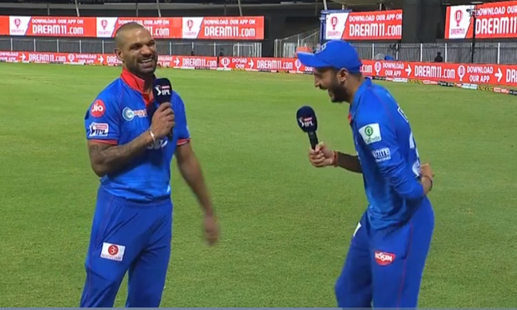 Delhi Capitals bowler axar patel interviews Shikhar Dhawan from sharjah watch video in hindi