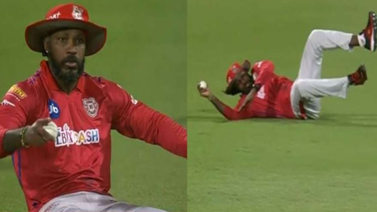 During RCB vs KXIP match Chris Gayle pulled off an outrageous dive to save four runs watch video in