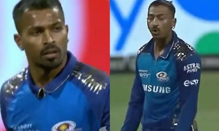 during Mumbai Indians and Delhi Capitals match Krunal Pandya loses his cool over His brother Hardik