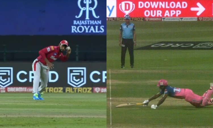 KXIP VS RR substitute fielder Jagadeesha Suchith direct hit to get Sanju Samson out in hindi