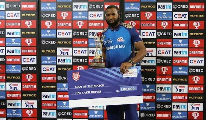 Kieron Pollard (Player Of The Match, MI V KXIP) Images in Hindi