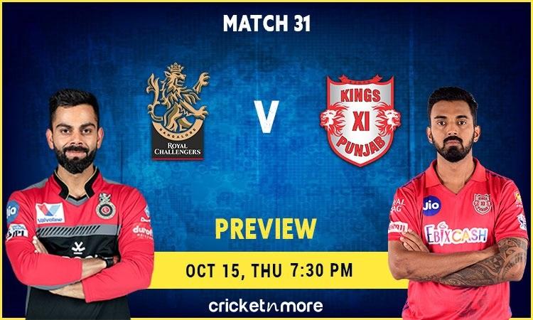 Today Match In IPL 2020 - Royal Challengers Bangalore VS Kings XI Punjab