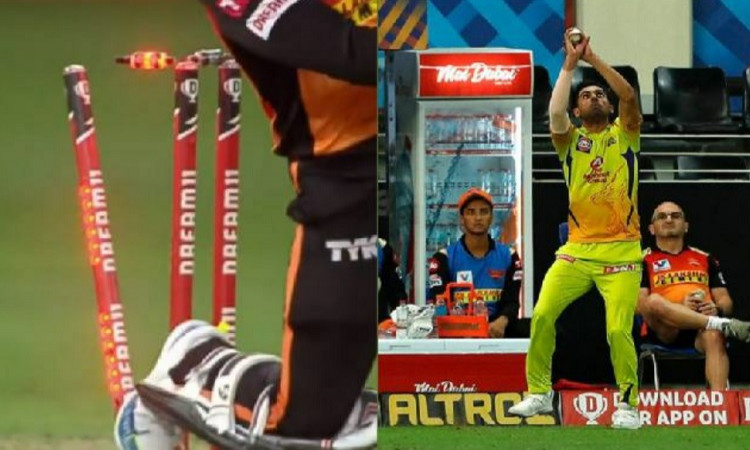 SRH player Rashid Khan was dismissed twice in one ball against MS Dhoni team Chennai Super Kings