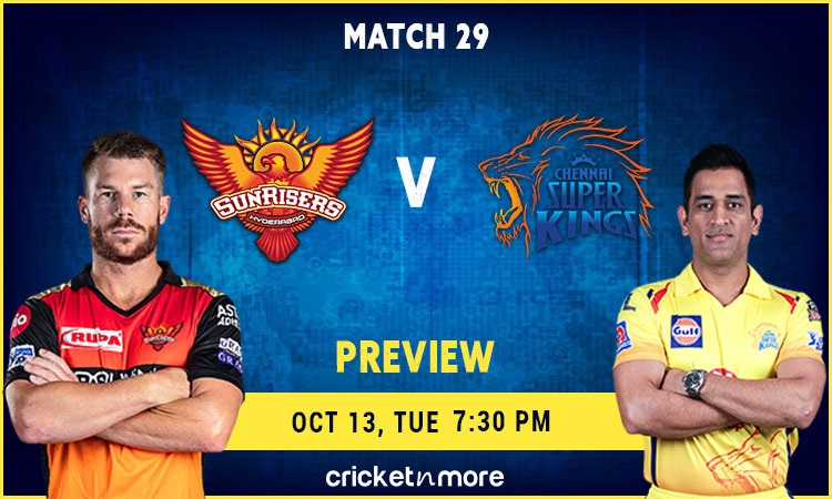 IPL 2020 Match 29 Sunrisers Hyderabad vs Chennai Super Kings Preview and Probable XI