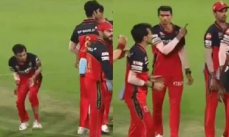 rcb bowler Mohammed Siraj throws the ball towards Yuzvendra Chahal during kkr match watch video in h