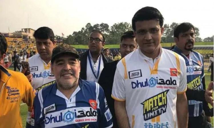 Diego Maradona and Sourav Ganguly