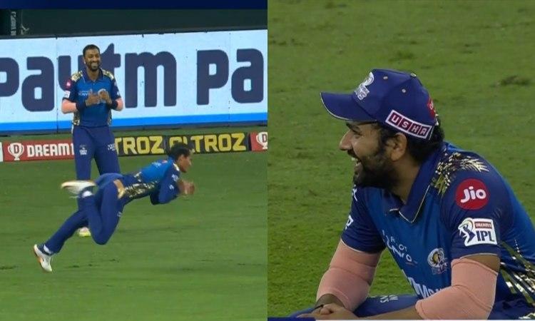 IPL 2020 DC VS MI Rahul Chahar catch makes everyone laugh watch video in hindi