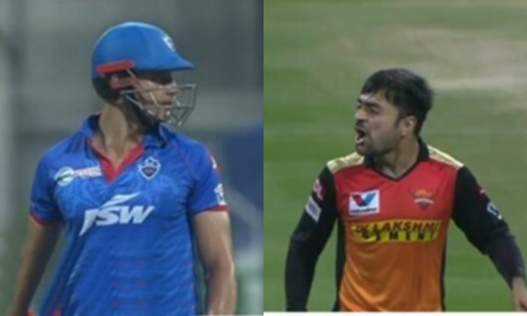 IPL2020 SRH VS DC Rashid khan angry expression to marcus stoinis watch video in hindi