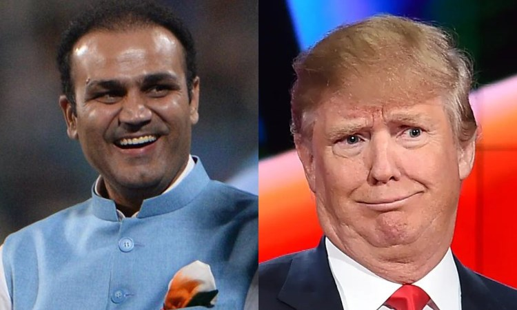 Former Indian cricketer Virender Sehwag reacts as Donald Trump loses to Joe Biden