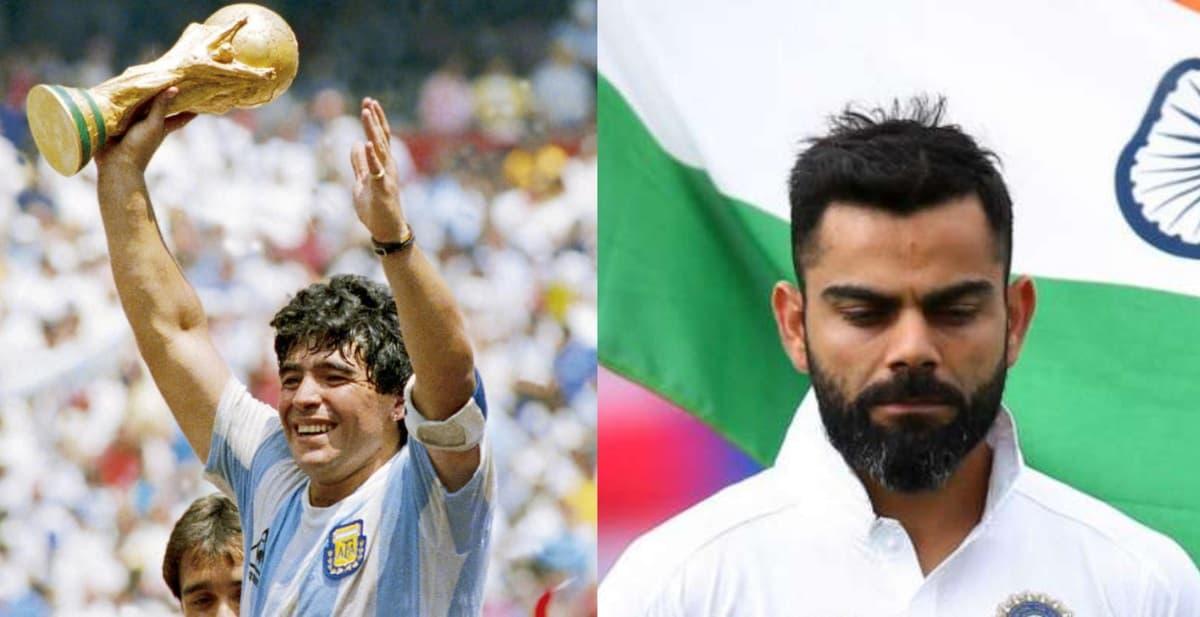 kohli pays tribute to diego maradona