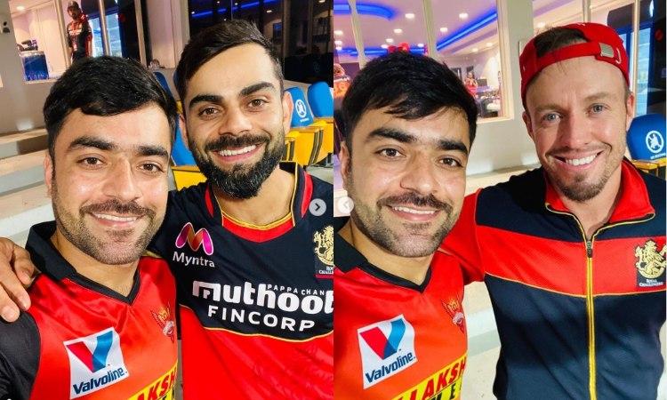 srh captain david warner reacts after rashid khan shares a picture with virat kohli and ab de villie