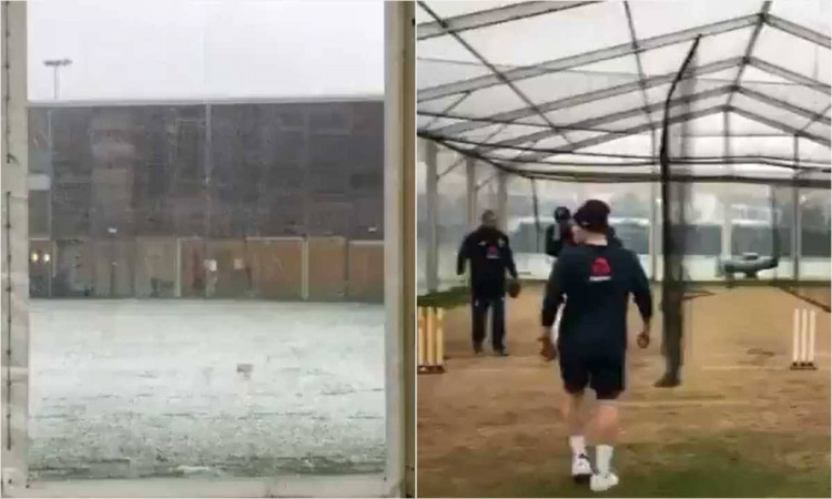 England Cricket Team is preparing in snow for their tour of Sri Lanka