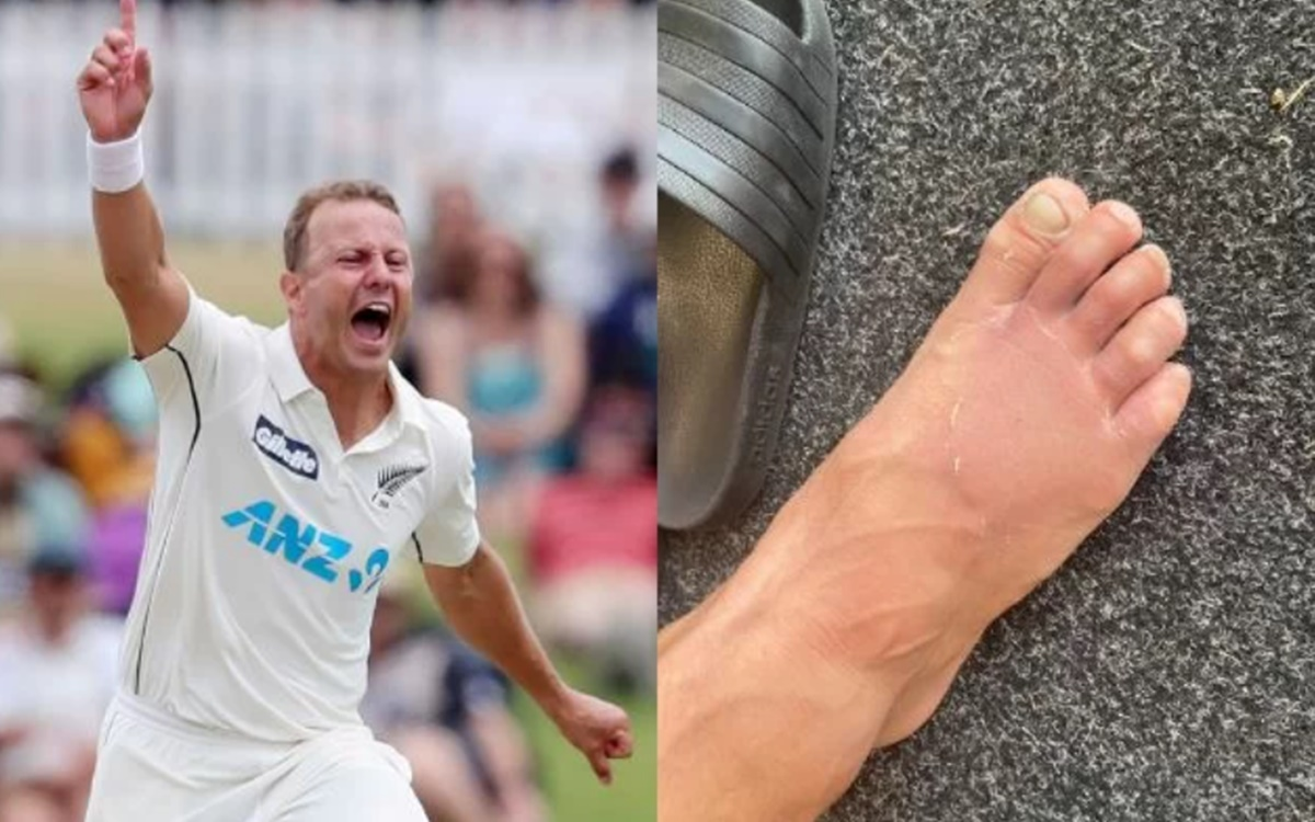 cricket images for New Zealand bowler Neil Wagner bowls with a fractured toe and picks up two wicket