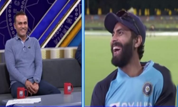 Ravindra Jadeja funny reaction on virender sehwag question watch video in hindi