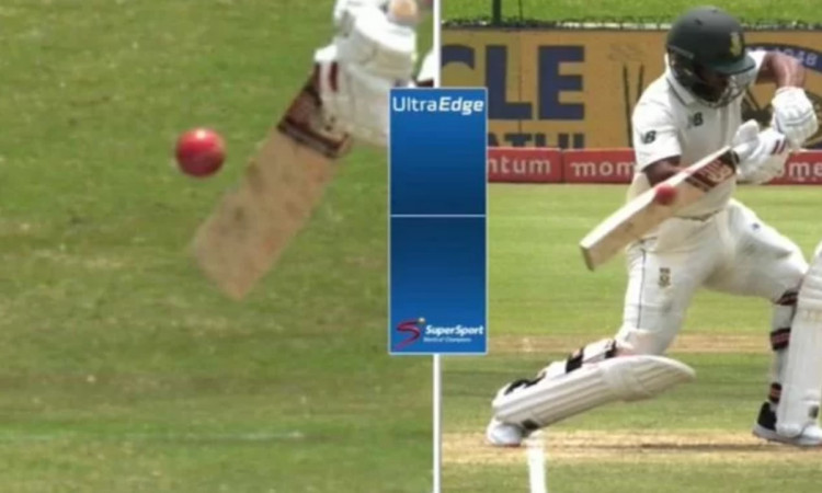 cricket images for South African batsman Temba Bavuma walks off despite not edging the ball