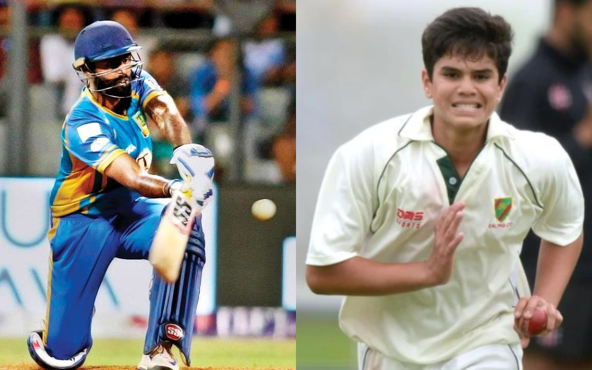 cricket images Suryakumar Yadav smacks sachin tendulkar son Arjun Tendulkar